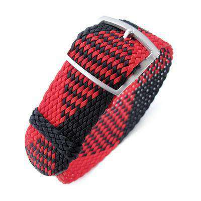 20, 22mm MiLTAT Perlon Watch Strap, Black & Red, Sandblasted Ladder Lock Slider Buckle