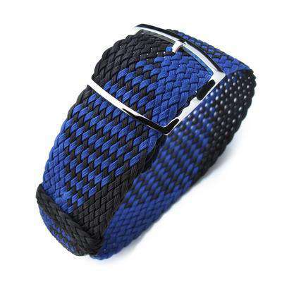 20, 22mm MiLTAT Perlon Watch Strap, Black & Blue, Polished Ladder Lock Slider Buckle