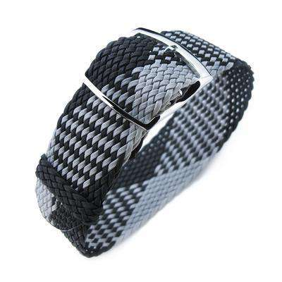 20, 22mm MiLTAT Perlon Watch Strap, Black & Light Grey, Polished Ladder Lock Slider Buckle