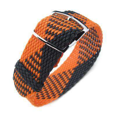 20, 22mm MiLTAT Perlon Watch Strap, Black & Orange, Polished Ladder Lock Slider Buckle