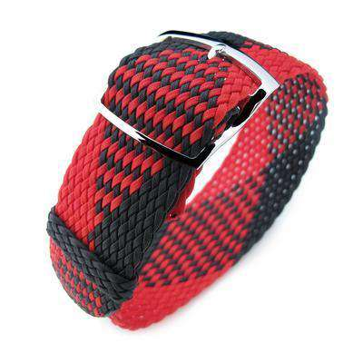 20, 22mm MiLTAT Perlon Watch Strap, Black & Red, Polished Ladder Lock Slider Buckle