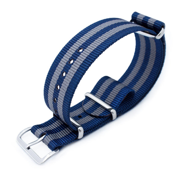 MiLTAT 18mm, 20mm or 21mm G10 military watch strap ballistic nylon armband, Polished - Navy & Grey