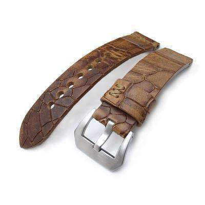 MiLTAT Zizz Collection 22mm Cracked Croco Middle Brown Watch Strap, Brown Stitching