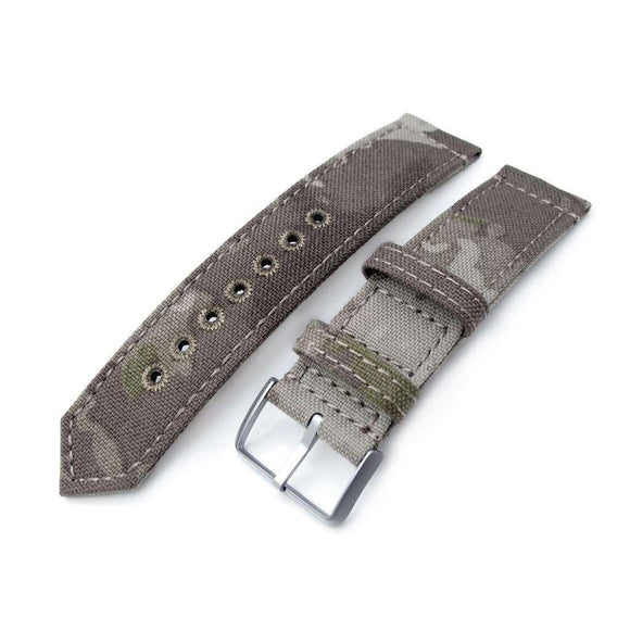 20mm or 22mm MiLTAT WW2 2-piece Light Grey Camouflage Nylon Watch Band with lockstitch round hole, Brushed