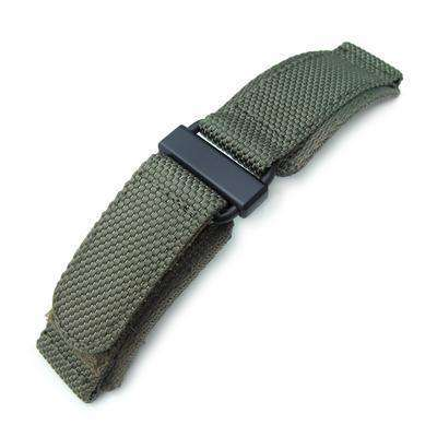 Strapcode Velcro Watch Strap 22mm MiLTAT Honeycomb Military Green Nylon Velcro Fastener Watch Strap, PVD Black Stainless Buckle