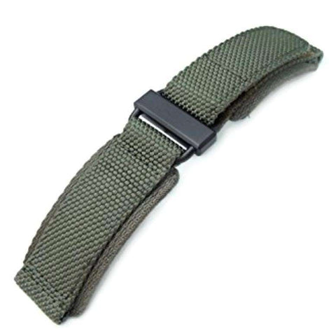 22mm MiLTAT Honeycomb Military Green Nylon Velcro Fastener Watch Strap, PVD Black Stainless Buckle, XL