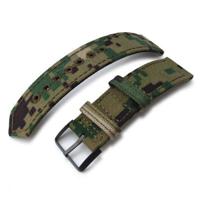 20mm, 21mm or 22mm MiLTAT WW2 2-piece Woodland Camo Cordura 1000D Watch Band with lockstitch round hole, PVD Black