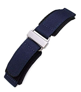 22mm MiLTAT Honeycomb Navy Blue Nylon Velcro Fastener Watch Strap, Brushed Stainless Buckle