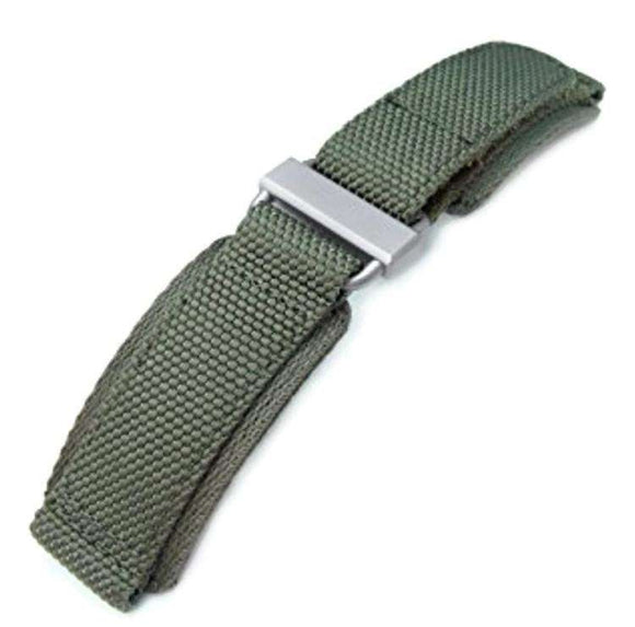 22mm MiLTAT Honeycomb Military Green Nylon Velcro Fastener Watch Strap, Brushed Stainless Buckle, XL
