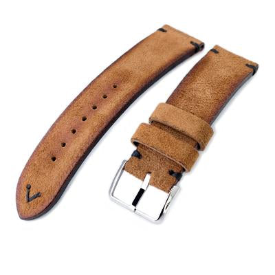 20mm, 21mm, 22mm MiLTAT Saddle Brown Genuine Nubuck Leather Watch Strap, Black Stitching, Polished Buckle