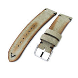 20mm, 21mm, 22mm MiLTAT Grey Green Genuine Nubuck Leather Watch Strap, Black Stitching, Polished Buckle