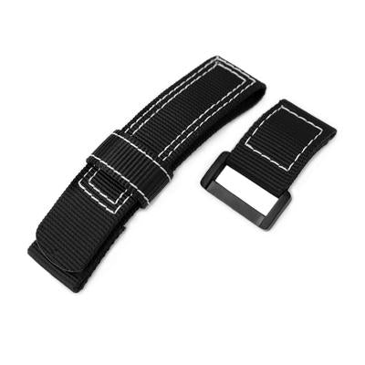 20mm, 22mm or 24mm MiLTAT Black Nylon Velcro Fastener Watch Strap, White Stitching, PVD Black Buckle