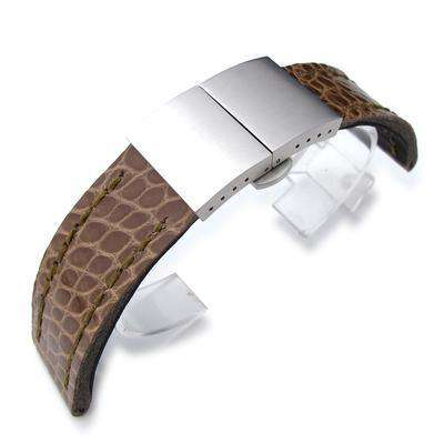 22mm MiLTAT Shinny Ash Brown Geniune Alligator Watch Band, Green Wax Hand Stitch, Brushed Dome Deployant Clasp