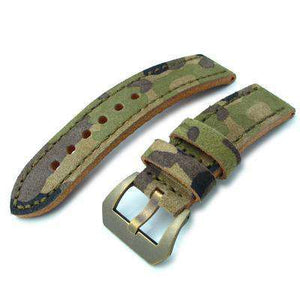 MiLTAT 22mm Forest Camouflage Leather of Art Watch Strap, IP Antique Bronze Buckle