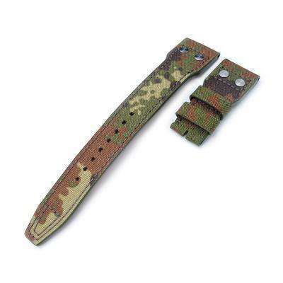 22mm MiLTAT Forest Camo Nylon IWC Big Pilot replacement Strap, Rivet Lug