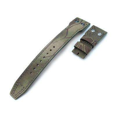 22mm MiLTAT Ninja Turtle Camo Nylon IWC Big Pilot replacement Strap, Rivet Lug