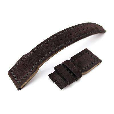 22mm MiLTAT Genuine Suede Dark Brown IWC Big Pilot replacement Strap, Charcoal Grey Wax Hand Stitching
