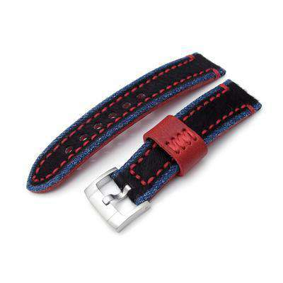 22mm MiLTAT Zizz Collection Brown Fur & Calf Watch Strap Red Wax Hand Stitching