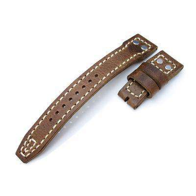 22mm MiLTAT Douglas Greenish Brown Pull Up Italian Leather IWC Big Pilot replacement Strap, Rivet Lug