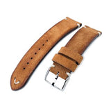 20mm, 21mm, 22mm MiLTAT Saddle Brown Genuine Nubuck Leather Watch Strap, Beige Stitching, Polished Buckle
