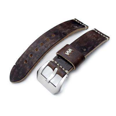 22mm MiLTAT Zizz Cheese Calf Dark Chocolate Brown Italian Leather Watch Strap, Beige Hand Stitching