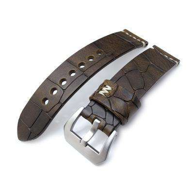 MiLTAT Zizz Collection 22mm Cracked Croco Dark Brown Watch Strap, Beige Stitching