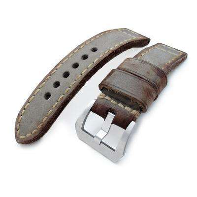 22mm MiLTAT Handmade Vintage Calf Leather Watch Band, Hand Painted Grey, Hand Stitches