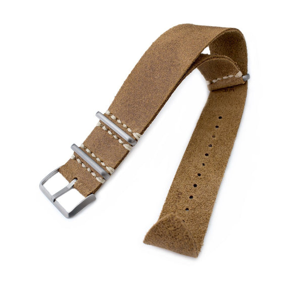 20mm or 22mm MiLTAT G10 Grezzo NATO Watch Strap, Camel Brown Distressed Calf Leather Extra Soft, Sandblasted