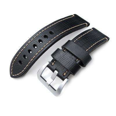 Strapcode Lizard Watch Strap 24mm MiLTAT HORWEEN Black Lizard Emboss, Beige Hand Stitching