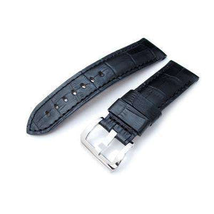 24mm CrocoCalf (Croco Grain) Matte Black Watch Strap with Black Stitches, Polished Screw-in Buckle
