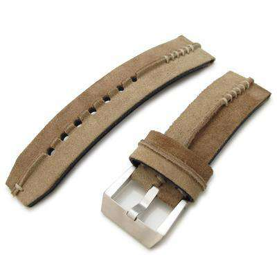 24mm MiLTAT Sand + L Brown Ridge Design Suede watch strap, Beige Hand Stitch
