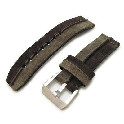 24mm MiLTAT Khaki + D Brown Ridge Design Suede watch strap,
