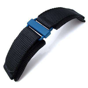 Strapcode Velcro Watch Strap MiLTAT Honeycomb Black Nylon Velcro Fastener Watch Strap for Bell & Ross BR01, IP Blue Buckle