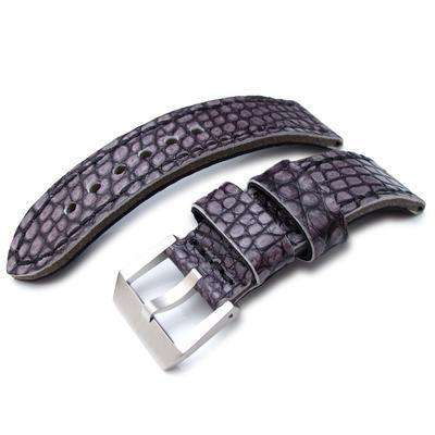 24mm MiLTAT Grey Siltstone Genuine Alligator Leather Watch Band, Black Stitching XL
