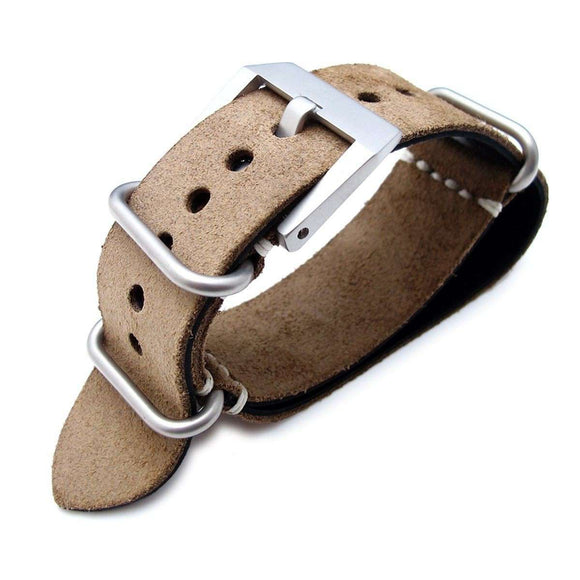 Strapcode N.A.T.O Watch Strap MiLTAT 24mm Nubuck Leather Grezzo Zulu watch strap Brown Thick armband - Beige Hand Stitch