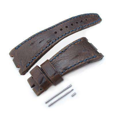 Strapcode Leather Watch Strap Scratch Brown Pattern Leather of Art Watch Strap, Dark Navy Wax thread , custom made for Audemars Piguet Royal Oak Offshore