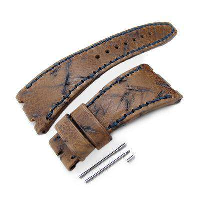Strapcode Leather Watch Strap Heavy Scratch Brown Leather of Art Watch Strap, Dark Navy Wax thread, custom made for Audemars Piguet Royal Oak Offshore