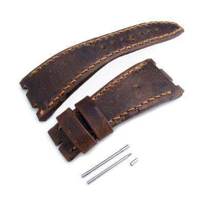 Strapcode Leather Watch Strap Dark Brown Chesse Holes Leather of Art Watch Strap, Brown Wax thread, custom made for Audemars Piguet Royal Oak Offshore