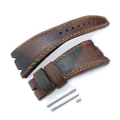 Strapcode Leather Watch Strap Camo Pattern Leather of Art Watch Strap, Wax thread Brown Stitching, custom made for Audemars Piguet Royal Oak Offshore