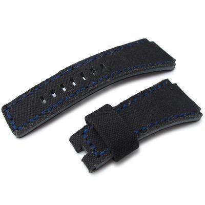 Strapcode Fabric Watch Strap MiLTAT Black Washed Canvas for Bell & Ross replacement Strap, Blue Stitches