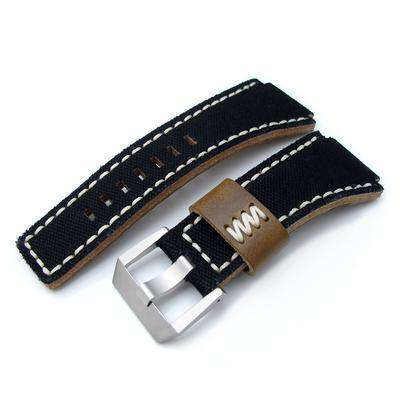 Strapcode Fabric Watch Strap MiLTAT Black Canvas Bell & Ross BR01 Type Replacement Watch Strap, Beige Wax Stitching