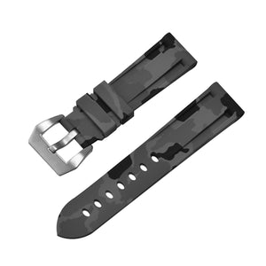 Rubber Watch Strap Grey Camouflage with Stainless Buckle Size 20mm to 24mm