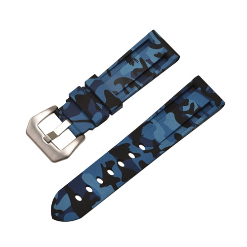 Rubber Watch Strap Blue Camouflage with Stainless Buckle Size 20mm to 24mm