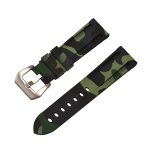 Rubber Watch Strap Green Camouflage with Stainless Buckle Size 20mm to 24mm