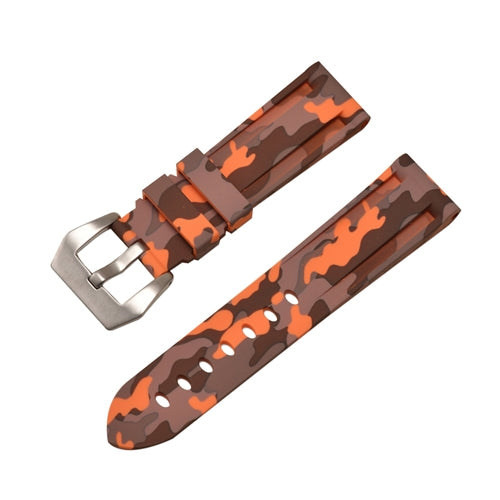 Rubber Watch Strap Orange Camouflage with Stainless Buckle Size 20mm to 24mm