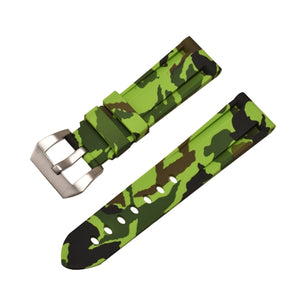 Rubber Watch Strap Lime Green Camouflage with Stainless Buckle Size 20mm to 24mm