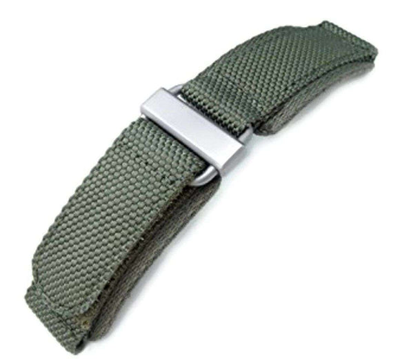 22mm MiLTAT Honeycomb Military Green Nylon Velcro Fastener Watch Strap with Brushed Stainless Buckle