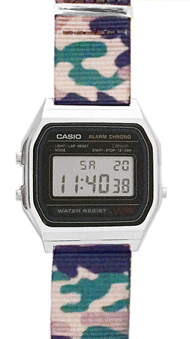 Casio Watch Classic Vintage Casio with Camouflage NATO Strap A158W-NATO_A