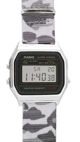Casio Watch Classic Vintage Casio with Grey Camouflage NATO Strap A158W-NATO_B