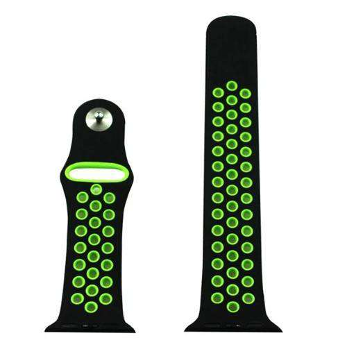 Apple iWatch Watch Strap Black/Green Sports Silicone 38mm and 42mm